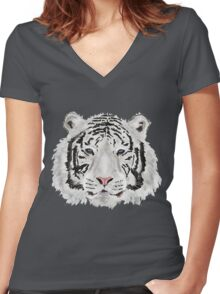 The White Tiger Shirt Women's Fitted V-Neck T-Shirt