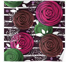 Abstract rose flower on a black background. Poster
