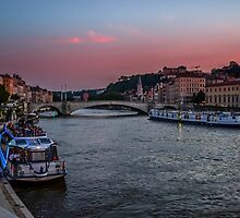 Sunset at River Saône, Lyon by jotagphoto