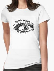 Black And White Scribble Eye Ball Womens Fitted T-Shirt