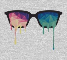 Psychedelic Nerd Glasses with Melting LSD/Trippy Color Triangles Kids Clothes