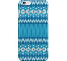 Winter Geometric Ornament Background in Blue and White from Knitted Fabric iPhone Case/Skin