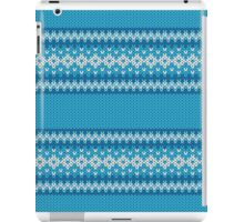 Winter Geometric Ornament Background in Blue and White from Knitted Fabric iPad Case/Skin