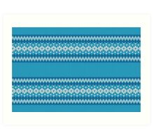 Winter Geometric Ornament Background in Blue and White from Knitted Fabric Art Print