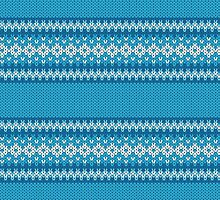 Winter Geometric Ornament Background in Blue and White from Knitted Fabric by amovitania