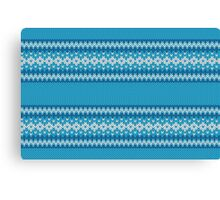 Winter Geometric Ornament Background in Blue and White from Knitted Fabric Canvas Print