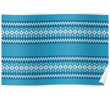 Winter Geometric Ornament Background in Blue and White from Knitted Fabric Poster