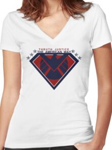 THRUTH JUSTICE THE AMERICAN WAY Women's Fitted V-Neck T-Shirt