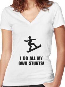 Do Snowboard Stunts Women's Fitted V-Neck T-Shirt