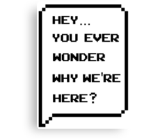 Hey, you ever wonder why we're here? Canvas Print