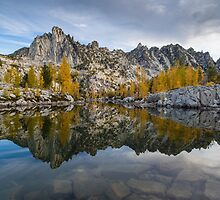 Leprechaun Lake Larches And Prusik Peak by mikereid