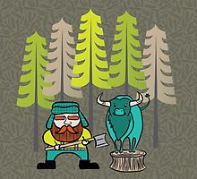 Lumberjack Attack: Paul and Babe by joyfulroots