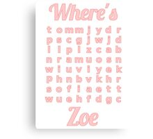 Baby Zoe learns word puzzle Canvas Print