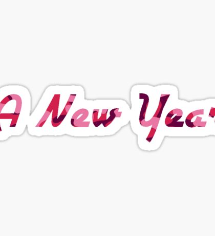 A New Year - Pink Camoflauge Typography Sticker
