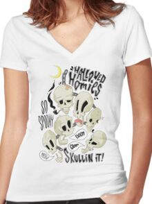 Hallowed Homies Women's Fitted V-Neck T-Shirt
