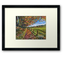 Acrylic painting, Autumn Path landscape art Framed Print