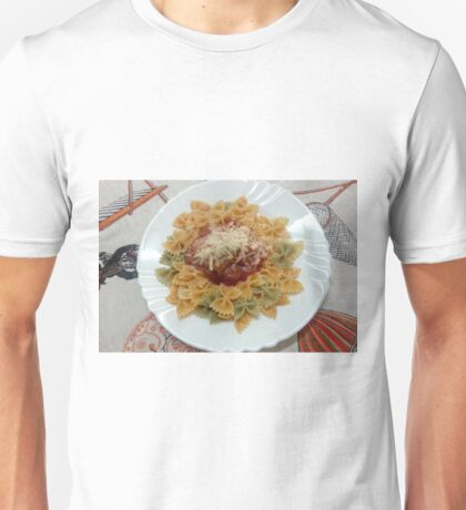 Tricolor Farfalle With Tomato Sauce Unisex T-Shirt