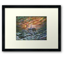 Acrylic painting, Oil rig in stormy seascape art Framed Print