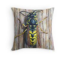 Acrylic painting, Wasp nature art Throw Pillow