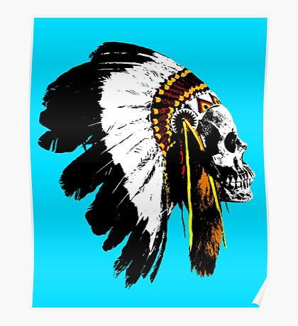 Indian chief skull Poster