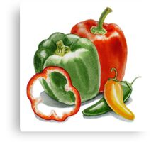 Bell Peppers And Jalapeno  Canvas Print