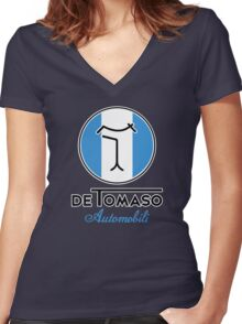 De Tomaso Automobili Round Badge  Women's Fitted V-Neck T-Shirt