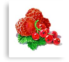 Raspberries And Redcurrant Canvas Print