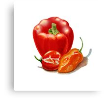Red Pepper And Hot Peppers Canvas Print