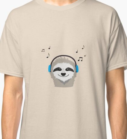 Sloth with headphones Classic T-Shirt
