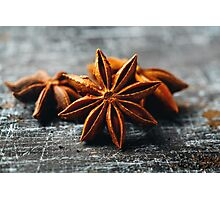 Food Background with Close-up of Star Anise  Photographic Print