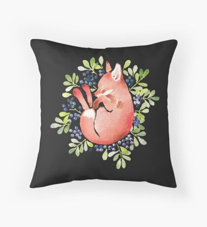 Sleeping fox and blue berries Throw Pillow