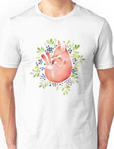 Sleeping fox and blue berries Unisex T-Shirt