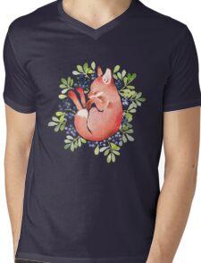 Sleeping fox and blue berries Mens V-Neck T-Shirt