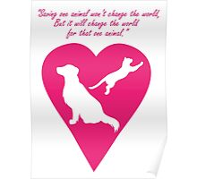 Dog and Cat Heart Poster