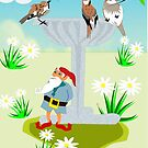 Garden Theme (Bird Bath &Gnome 1222 Views) by aldona