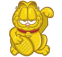 Gold Lucky Garfield Cat by Andy Munro