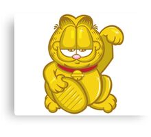 Gold Lucky Garfield Cat Canvas Print