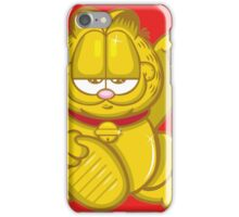 Gold Lucky Garfield Cat iPhone Case/Skin