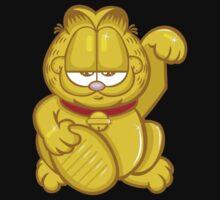 Gold Lucky Garfield Cat T-Shirt