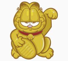 Gold Lucky Garfield Cat Kids Clothes