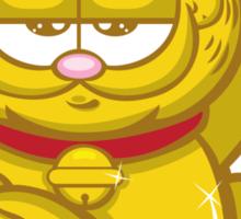 Gold Lucky Garfield Cat Sticker