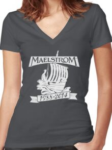 Maelstrom (WHITE) Women's Fitted V-Neck T-Shirt