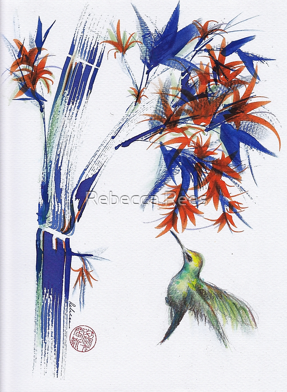 Blossom - Mixed media hummingbird watercolor painting by Rebecca Rees