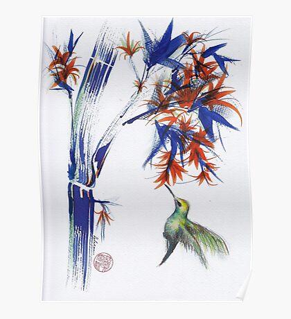 Blossom - Mixed media hummingbird watercolor painting Poster