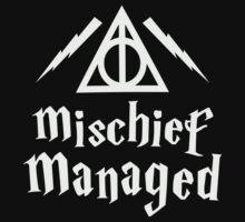Mischief Managed, White Ink | Harry Potter Deathly Hallows Symbol Sweater, Harry Potter Quote by ABFTs