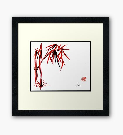 """Nature's Kiss"" Original Chinese Brush Painting Framed Print"