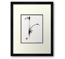 """Little Sunshine""  Original ink brush pen ladybug bamboo painting Framed Print"