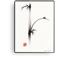 """Little Sunshine""  Original ink brush pen ladybug bamboo painting Metal Print"