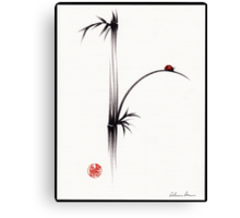 """Little Sunshine""  Original ink brush pen ladybug bamboo painting Canvas Print"
