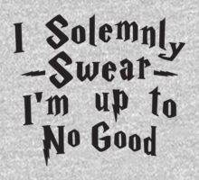 I Solemnly Swear I'm Up To No Good, Black Ink | Women's Harry Potter Quote, Deathly Hallows by Tradecraft Apparel